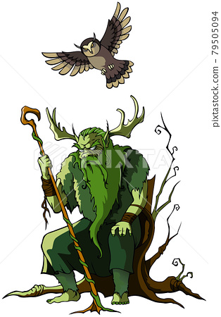 Wood Goblin in the forest, vector illustration 79505094