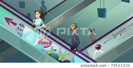 People on escalators in shopping center 79521310
