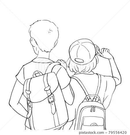 Illustration of the back of a man and a woman carrying a backpack 79556420