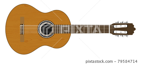 Classical guitar on white background. Vector 79584714