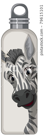 A white thermos bottle with zebra pattern 79615101