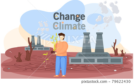 Dried, hot and red planet globe. Saving Earth and environmental care concept. Man planting sprout 79622430