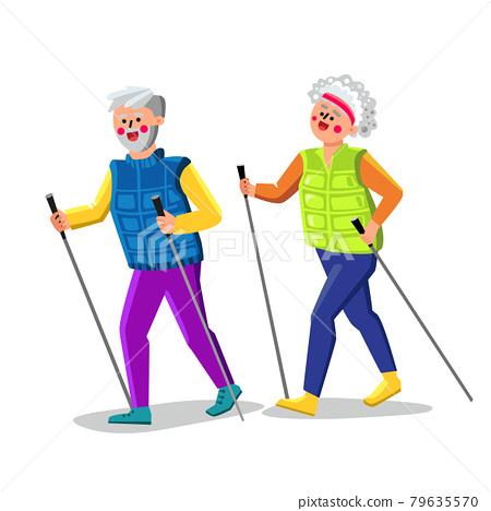 Nordic Walking Exercising Senior Couple Vector Illustration 79635570