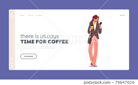 Morning Takeaway Drink Refreshment Landing Page Template. Young Businesswoman Character in Formal Wear Drinking Coffee 79647020