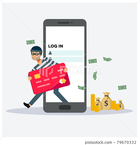 Hacker has hacked credit card from smartphone , Hacker concept ,Flat vector cartoon character illustration. 79670332
