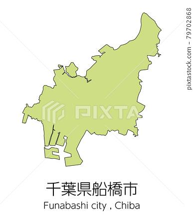 chiba prefecture, map, vector 79702868