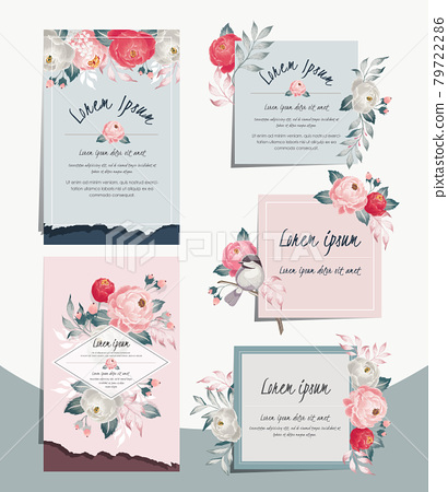 Vector illustration set of hand drawn cards for wedding, anniversary, birthday and party. Design for banner, poster, card, invitation, brochure and scrapbook 79722286