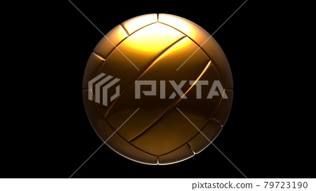 Gold volleyball ball isolated on black background. 79723190