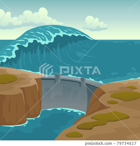 Sea landscape with dam and large wave 79734817