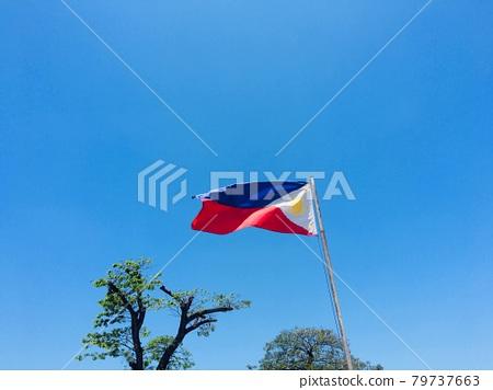 Philippine flag and blue sky 79737663