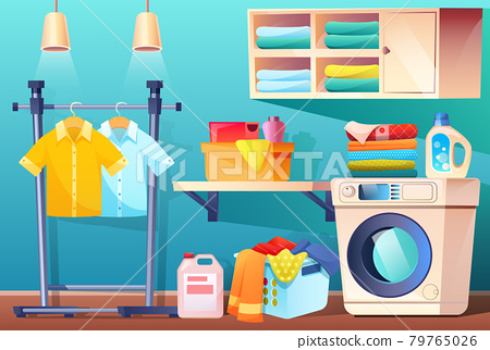 Laundry room with clean or dirty clothes, vector 79765026