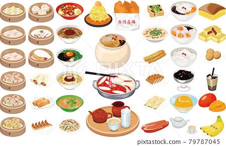 台灣人氣美食特產插畫①(喝茶、炸雞、肉丸、台灣拉麵、豆花、刨冰) 79787045
