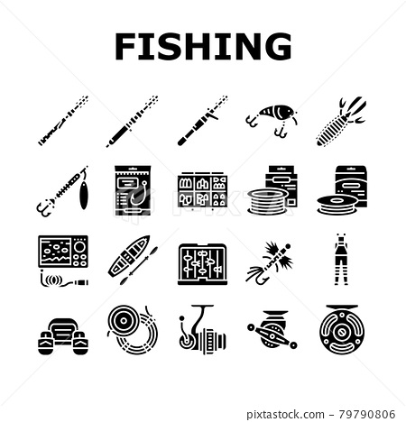 Fishing Shop Products Collection Icons Set Vector 79790806