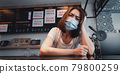 Asian woman coffee shop business owner Stressed and disappointed from The effects of the coronavirus pandemic resulting in business losses 79800259