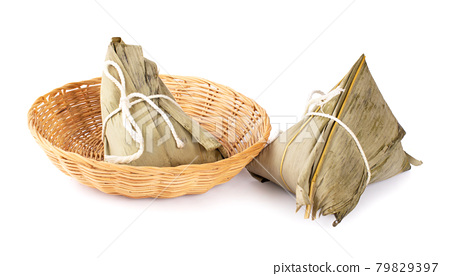 Zongzi. Rice dumpling for Chinese traditional Dragon Boat Festival (Duanwu Festival) on white background. 79829397