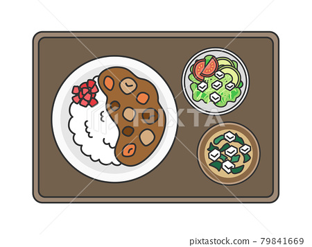 Illustration of curry rice set meal 79841669