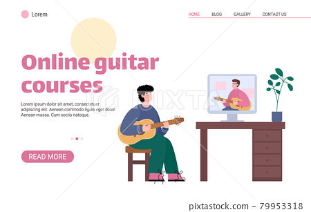 Web banner for online video music lesson how play on classic acoustic guitar. 79953318