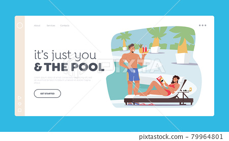 People Relaxing on Tropical Resort Landing Page Template. Tourist Characters on Vacation. Woman Lounging at Poolside 79964801