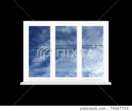 Window with view to rows of birds sitting on electric wires against sky isolated 79967754