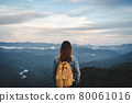Happy young woman traveler relaxing and looking at the beautiful sunset on the top of mountain 80061016
