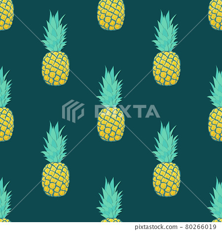 Seamless pattern with pineapples Trendy summer design 80266019