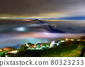 雲霧虛無飄渺游走間,籠罩在山的上空。城鎮的街燈像是琉璃光一般,又美麗又夢幻。 80323233