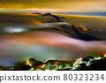 雲霧虛無飄渺游走間,籠罩在山的上空。城鎮的街燈像是琉璃光一般,又美麗又夢幻。 80323234