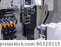 CNC lathe machine or Turning machine drilling the steel rod 80329115