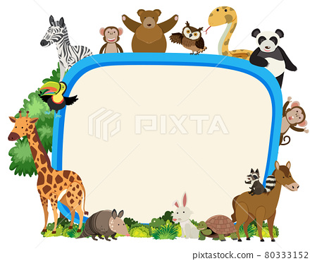 Empty banner with various wild animals 80333152