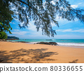 View the sea from the shade of a tropical beach (Khaorak, Phang Nga Province, Kingdom of Thailand) 80336655