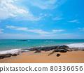 Tropical sandy beaches with waves (Khaorak, Phang Nga Province, Kingdom of Thailand) 80336656
