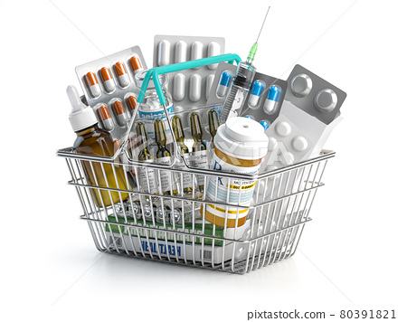 Shopping basket full of medicines, pills, blisters and vaccine isolated on white. 80391821