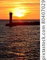 Evening sun on the Echizen coast 80407029