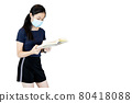 Young school girl standing holding book,student wearing protective mask reading a book during Coronavirus COVID-19 outbreak at library isolated on white background,Hygiene and Education concept 80418088