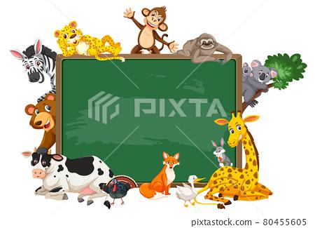 Empty blackboard with various wild animals 80455605