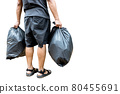 Back view,Man holding a black trash bag containing garbage in his hands,two plastic bags of rubbish for separating recycling and general waste,sorting waste for disposal,isolated on white background 80455691