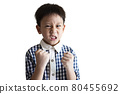 Angry little child clenched fist,show dissatisfied expression on face,feeling upset annoyed,bad behavior,Temperamental kid boy with Attention Deficit Hyperactivity Disorder,irritability,full of anger 80455692