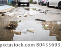 Garbage and dirty water,lot of rubbish scattered all over the street after heavy rains and flooding,dirt of debris,pieces of waste,plastic bottles floating in the flood,environmental pollution problem 80455693