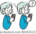 할머니, 조모, 스마트폰 80483522