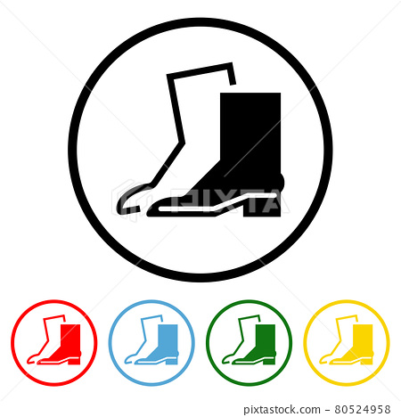 Wear Safety Footwear Flat Icon with Color Variations 80524958