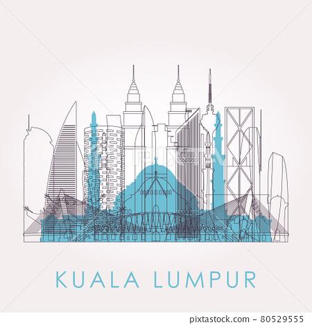 Outline Kuala Lumpur skyline with landmarks.  80529555