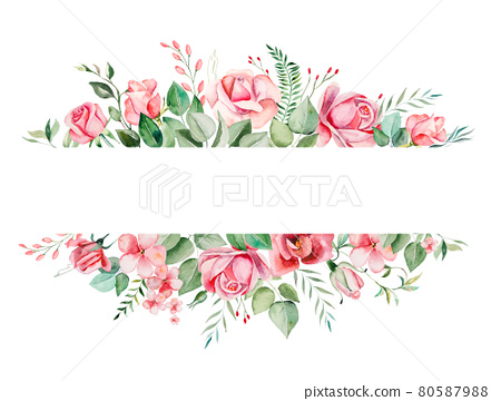 Watercolor pink flowers and leaves frame illustration 80587988