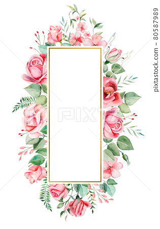 Watercolor pink flowers and leaves frame illustration 80587989
