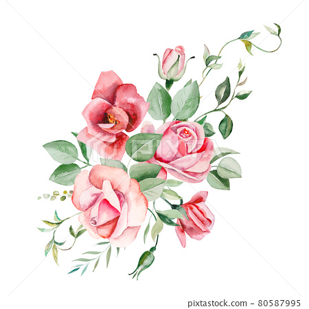 Watercolor pink flowers and leaves frame illustration 80587995