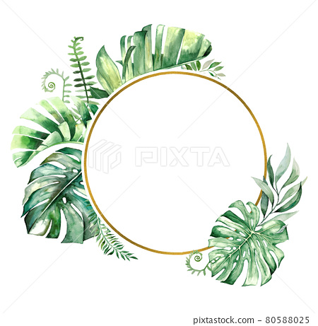 Watercolor tropical leaves frame illustration 80588025
