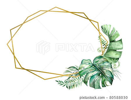 Watercolor tropical leaves frame illustration 80588030
