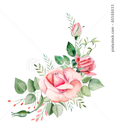 Watercolor pink flowers and leaves frame illustration 80588033