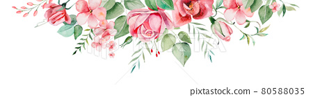 Watercolor pink flowers and leaves border illustration 80588035
