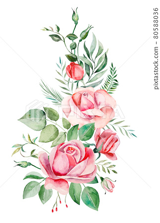 Watercolor pink flowers and leaves frame illustration 80588036