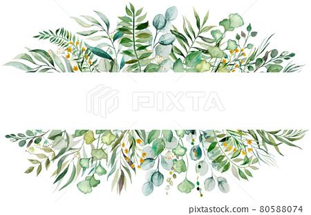Watercolor botanical green leaves frame illustration 80588074